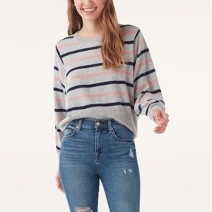 Splendid Stripe Knit Pullover Sweater Gray Navy M
